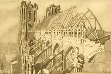 Reims cathedral, after German bombing in WW