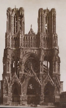 Reims cathedral, after German bombing
