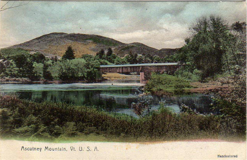 Ascutney covered bridge on a hand-coloured postcard, 1906