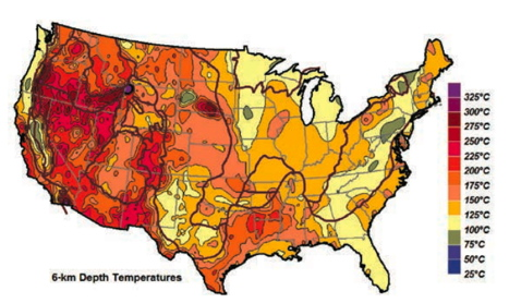 Geo-thermic map of the USA, based on helium isotope measurements. Source: treehugger.com