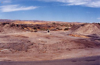Lakeview oil well site, marked with stone monument