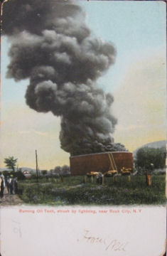 Oil tank struck by lightning, Rock City, NY, 1905