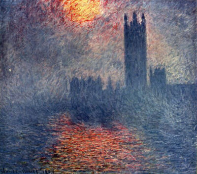 Houses of Parliament, London, Sun Breaking Through the Fog  by Claude Monet, 1904. Source: Musee d'Orsay, Paris