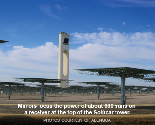 The Solucar Tower, the collecting point for the sun's energy reflected from mirrors.