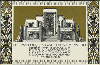 Galeries Lafayette pavilion advertising flyer.