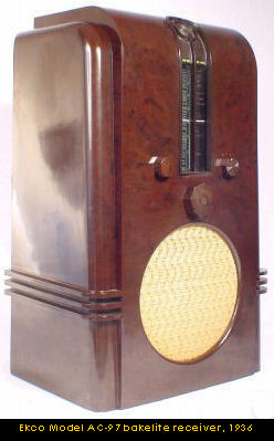 Ekco Model AC-97 bakelite wireless receiver, 1936
