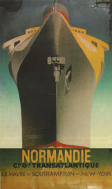 Poster advertising voyages on the ocean liner Normandie