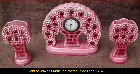 A Sarreguemines Majocia mantel clock set, 1925