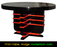 1930s table with speed lines. Image: modernism.com