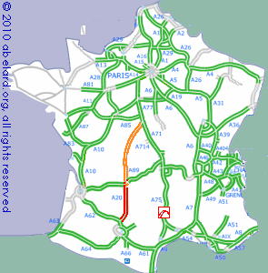 Motorway Map Of France.Aires On The A20 Motorway The Occitane From Brive To Montauban