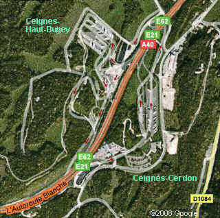 Google satellite map of Ceignes-Cerdon and Ceignes-Haut-Bugey aires, A40