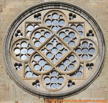 Exterior of south rose window at Lausanne cathedral