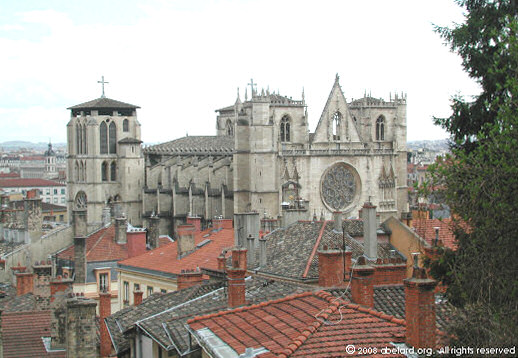 Lyon cathedral, nestled amongst houses of the original medieval city (Vieux Lyon)