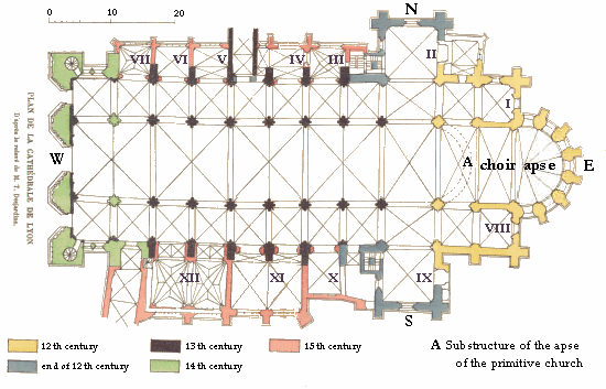 Floor plan of Lyon cathedral