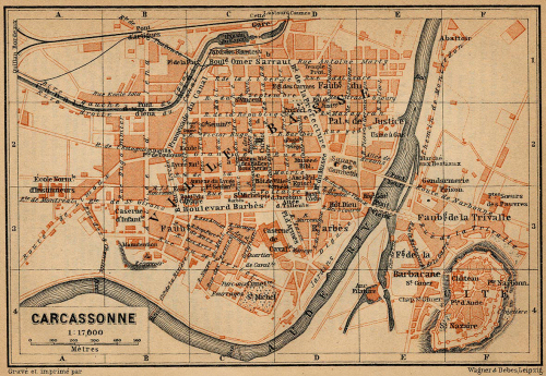 1914 map of both parts of Carcassonne. Image: Baedeker Guide.