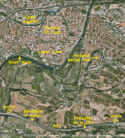 Interactive, satellite map of Carcassonne and neighbouring areas. Image: GoogleMaps, with additions