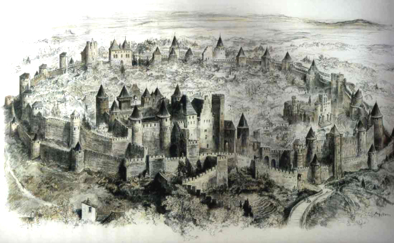 Engraving of the fortified town of Carcassonne. By Robida, c. 1910