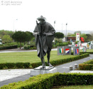 The pilgrom statue at Hastingues aire, A64