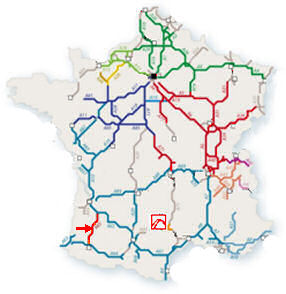 Map Of France Highways.A65 The Autoroute De Gascogne From Langon To Pau France