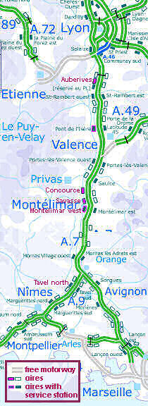 motorway aires aires on the busy A7 autoroute France zone at