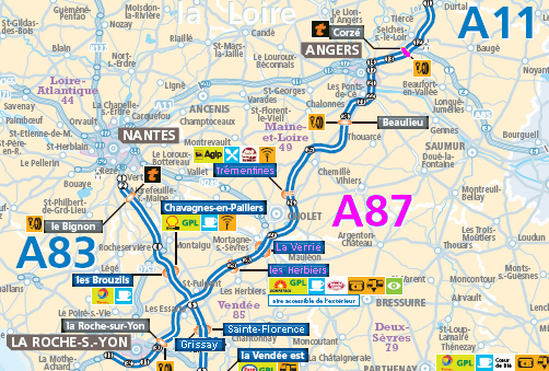 Motorway Map Of France.Motorway Aires In Poitou Charentes The A87 France Zone At