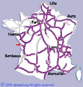 sketch map indicating the Ile de R� and Ile d'Oleron