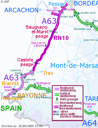 Motorway Map Of France.Motorway Aires The French Wild West Bordeaux To The Spanish Border