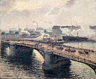 Boieldieu Bridge, Rouen painted by Camille Pissarro