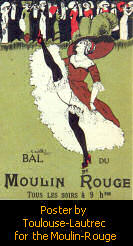 Cancan poster for the Moulin Rouge club, Montmartre, Paris