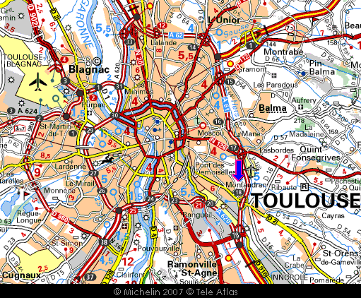 Michelin of Toulouse, with Cit� de l'espace marked (blue arrow)