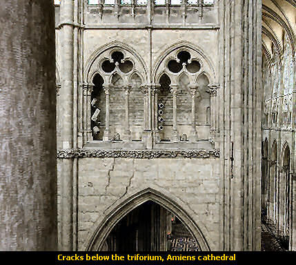 Cracks below the triforium, Amiens cathedral