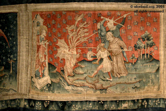 the dragon fights the servants of god - tapestry