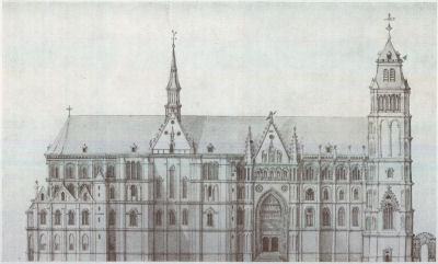 Cathedral Of Arras In The 18th Century From A Drawing By Posteau North