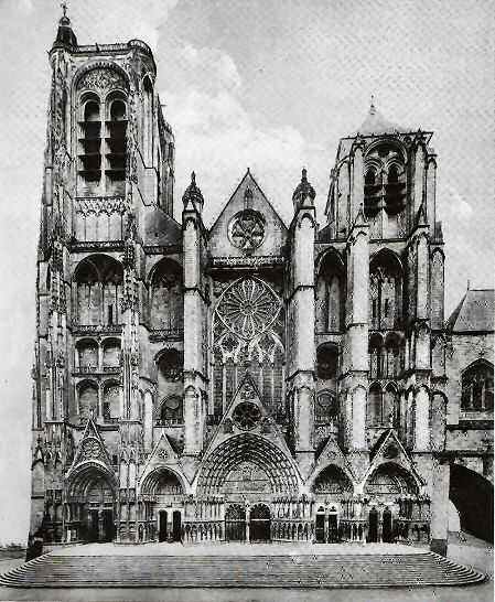 West facade of Bourges cathedral, with its five doorways