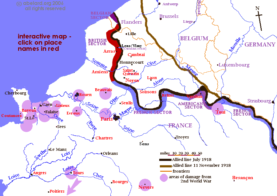 Northern France map showing cathedral towns and the zones affected by the two world wars of the 20th century.