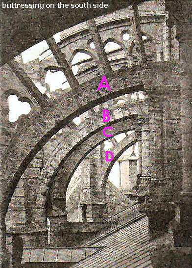 buttresses of Chartres cathedral, an old postcard
