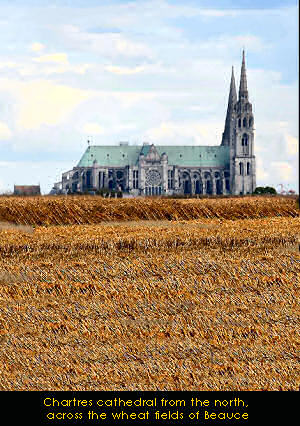 Chartres cathedral seen over wheat fields