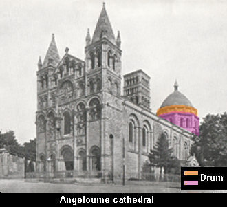 Illustrating a drum, exterior of Angeloume cathedral