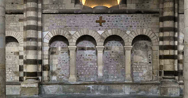 stone seating along the side of the nave