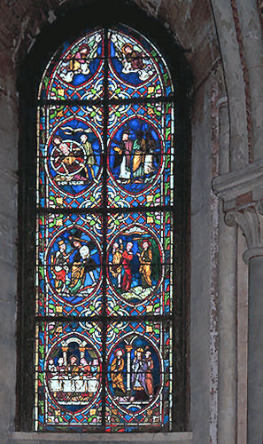 Medieval Stained Glass At Noyon Cathedral