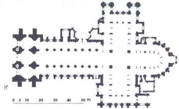 plan of the gothic cathedral of Arras, drawn by Traxier