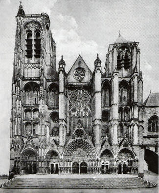 West facade of Bourges cathedral, with its five doorways.