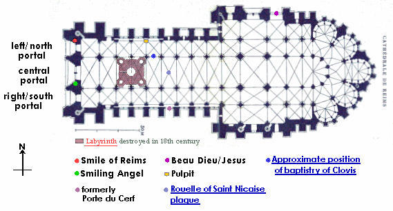 Plan of Reims cathedral, marking statues mentioned
