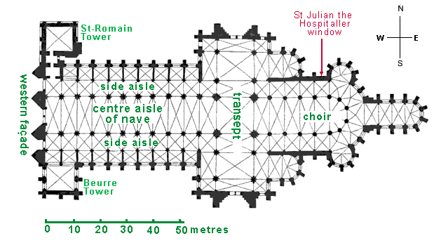 Interior floor and window plan of Rouen Cathedral