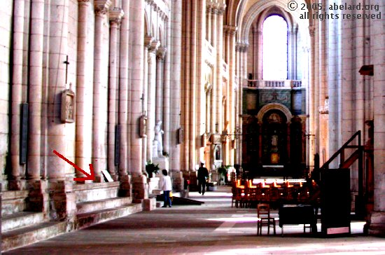 bank of stone seats at Poitiers cathedral