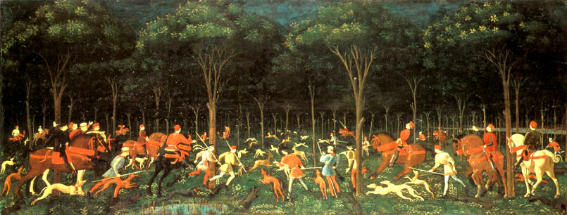 The hunt by night/in the forest by Paolo Uchello, 1470