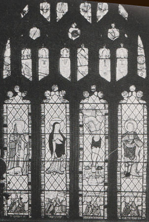 Figures in a grisaille window
