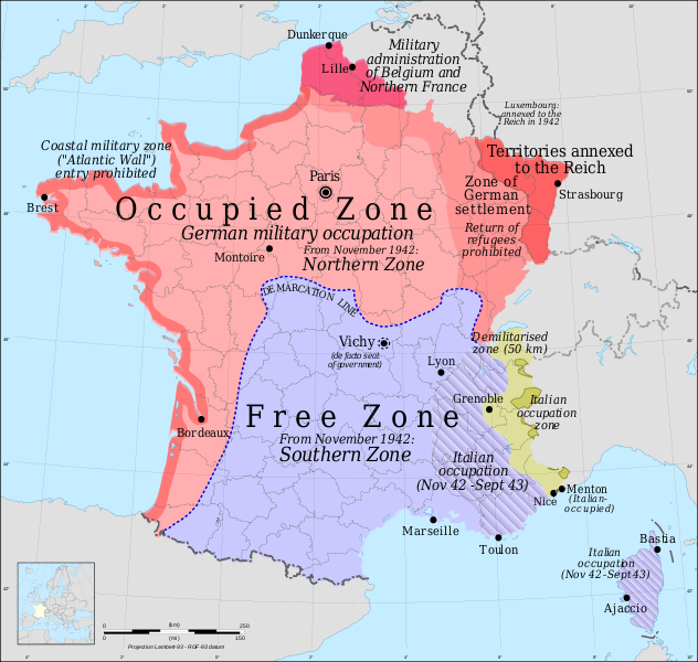 map of free and occupied zones in france during the german ww2 occupation source wikicommons