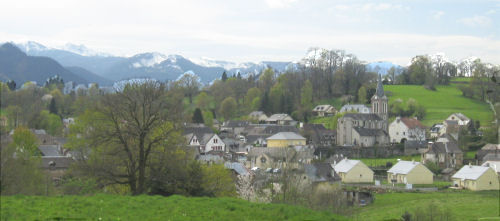 View across Bartres, where Bernardette stayed during her childhood, to the Pyrenees mountain range.