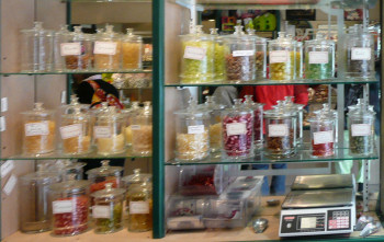 Jars of different flavoured berlingots, Cauterets